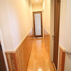 杉板/無垢材/ナチュラル 上部に明り取りの窓を付け、柔らかい光が入…