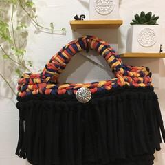 かぎ針編み/Tシャツヤーン/セリア/ハンドメイド セリアで見つけたknitting yar…