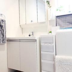 洗面所/吉川国工業/スリムストレージストッカー/収納/おうち わが家の洗面所。  昨年末、洗面台と洗濯…