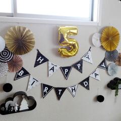 誕生日/デコ/ダイソー/フィルムバルーン/ガーランド/インテリア/... 昨年、娘の5歳の誕生日用デコ。 ダイソー…