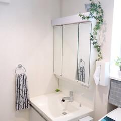 洗面所/おうち/2018/モノトーン わが家の洗面所。 2畳ほどのコンパクトな…