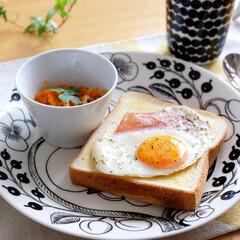 ARABIA アラビア ブラック パラティッシ Black Paratiisi プレート 26cm 6670   アラビア(皿)を使ったクチコミ「いつかの朝食。 ニトリのMEYERフライ…」(1枚目)