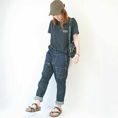 ママコーデ/ママファッション/おちびコーデ/夏ファッション/夏コーデ/カジュアルコーデ/... Tシャツ×デニム\( ⍢ )/  楽ちん…