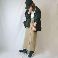 ママコーデ/低身長コーデ/しまむら/春ファッション/春/ファッション ドッキングワンピ×マウンテンパーカー☺️…