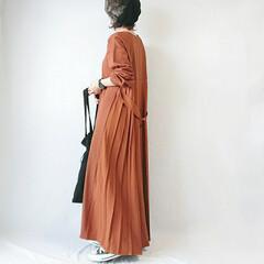 ベレー帽/秋カラー/秋ファッション/おちびコーデ/ママコーデ/ロングワンピ お久しぶりです♩♩  こっくり秋カラーの…
