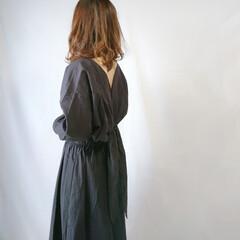 ワンピース/ママコーデ/春ファッション/ファッション/春の一枚 背中見せ&バックリボンがポイントのワンピ…