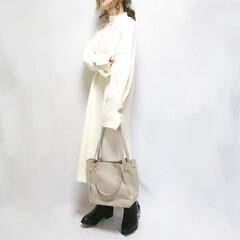 プチプラファッション/プチプラ/ニットワンピ/ファッション 袖のデザインが可愛いニットワンピ☺️♥️…