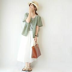 ママファッション/ロングスカート/ブラウス/夏ファッション/夏コーデ/アースカラー/... アースカラーコーデ(* 'ᵕ' )  ゆ…