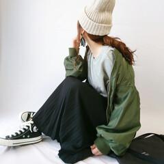 サコッシュ/コンバース/GU/プリーツスカート/秋ファッション/スウェット/... カジュアルコーデ🙈✨  ボリューム袖のア…