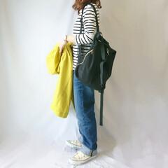 ママコーデ/コンバース/カジュアルコーデ/ゆるコーデ/ボーダーT/春ファッション/... 安定のボーダー×デニム☺️ 春らしいカジ…