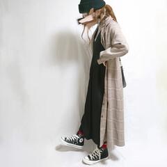 冬ファッション/プチプラコーデ/ママコーデ/低身長コーデ/おちびコーデ/チェック柄/... チェックシャツワンピをアウター代わりに着…