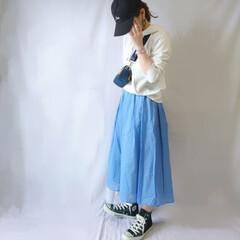 コンバース/カジュアルコーデ/おちびコーデ/キャップ/春ファッション/フレアスカート/... 春カラーのカジュアルコーデ☺️  キレイ…