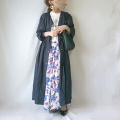 ママファッション/おちびコーデ/春ファッション/ロングスカート/花柄スカート/しまむら/... 大人っぽく着られる花柄スカート😆🎵  カ…
