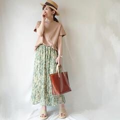 おちびコーデ/ママコーデ/ロングスカート/ボタニカル柄/プチプラ/プチプラファッション/... 夏コーデ( ・ ・̥ )♡  お気に入り…