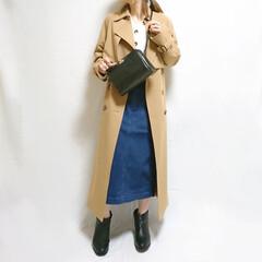 プチプラコーデ/低身長コーデ/ママコーデ/春ファッション/ショートブーツ/デニムスカート/... ロングトレンチ×デニムスカートのカジュア…