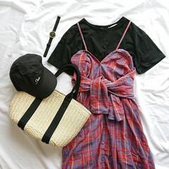 着回しコーデ/ママコーデ/おちびコーデ/夏ファッション/チェック/キャミワンピ/... お気に入りのKBFのマルチウェイワンピ(…