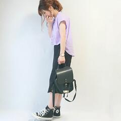 レーススカート/GU/おちびコーデ/ママコーデ/ファッション ラベンダー×ブラック( ˘ᵕ˘ )  G…