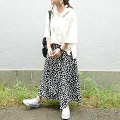 おちびコーデ/ママファッション/しまむらパトロール/しまパト/しまむらコーデ/プチプラファッション/... ¥1000のトップスとしまむらスカートで…