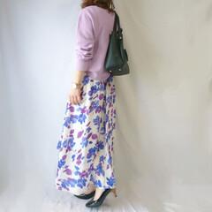 着回しコーデ/ママコーデ/花柄スカート/パープル/春ファッション/ファッション/... 春カラーコーデ☺️🎵  優しい雰囲気にな…