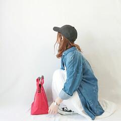 おちびコーデ/プチプラコーデ/プチプラカジュアル/ママファッション/白スカート/ロングスカート/... カジュアルコーデ( ˘ᵕ˘ )  デニム…