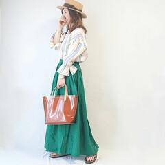 ママファッション/ロングスカート/カンカン帽/しまむらパトロール/しまむら/ファッション 初夏コーデ(* 'ᵕ' )  主役になる…