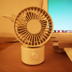 無印良品/デスクファン/家電/扇風機/在宅 暑い日の私の味方。 無印良品のデスクファ…