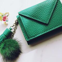 雑貨/三つ折り財布/ミニ財布/財布/ファー/フリンジ ミニバッグに使いたくて、三つ折り財布を買…