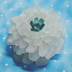 シーグラス/ハンドメイド シーグラスで作ったお花のランプを見て、マ…