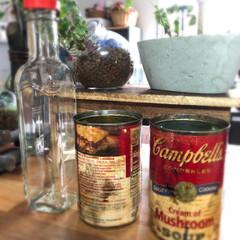 リメイク/空き缶/雑貨/インテリア/住まい/キッチン スープ缶のリメイクにtry! 紙のラベル…