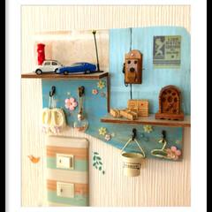 ミニチュア/玩具菓子/DIY/雑貨/100均/セリア/... 我が家の洗面室入り口です🚰 小物を飾りた…