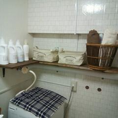 カゴ収納/白ボトル/棚DIY/キッチン汚れ防止シート/セリア/脱衣場/... セリアのキッチン汚れ防止シートを壁一面に…