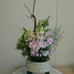 敷物/ハンドメイド/marimekko/マリメッコ/待合室/花器/... 二階の待合室の生け花です  ホワイトクリ…