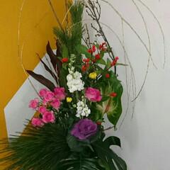 インテリア/バランス/ドラセナ/花器/踊り場/階段/... 師匠の作品 産婦人科病院 階段の踊り場の…