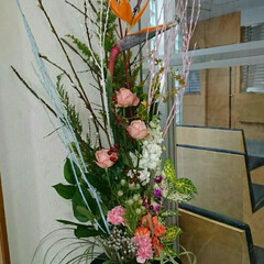 病院/産婦人科/出入り口/玄関ドア/花器/水盤/... 正面玄関出入り口の生け花です  極楽鳥の…