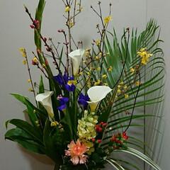インテリア/アレンジ/フラワー/お花/花/生花/... 1階 待合室の生け花です  いつも購入す…