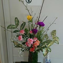 花瓶/フラワーベース/インテリア/アレンジ/フラワー/お花/... 二種の枝物を触覚のように二股にさせてはい…