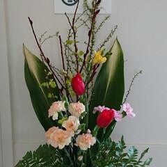 アレンジ/フラワー/インテリア/花瓶/花瓶(フラワーベース)/生花/... 3階 待合室の生け花です  今週はどの場…
