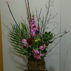 インテリア/アレンジ/フラワー/花/お花/生花/... 1階 待合室の生け花です  ストックと菜…