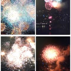 隅田川花火大会 今日は、隅田川の花火大会🎇 外からドンド…