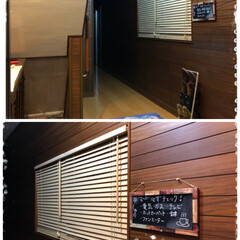 黒板シート/コルクボード/木製ブラインド/窓/セリア/住まい/... 玄関のところにある窓はほとんど開け閉めし…