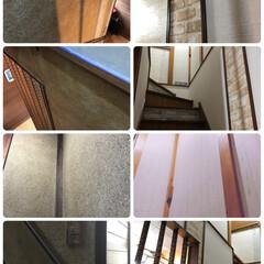 階段/壁紙/DIY/住まい/玄関 左側の写真が昨年の11月の終わり。 右側…