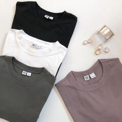 クルーネックTシャツ/UNIQLO/大人カジュアル/カジュアル/Tシャツ/プチプラ/... ユニクロUのクルーネックTシャツ。  左…