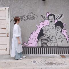 シャツワンピ/ワンピース/ママコーデ/大人カジュアル/ファッション お気に入りのシャツワンピ。 ワイドパンツ…