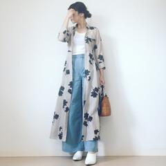 春夏ファッション/デニムコーデ/ママコーデ/大人カジュアル/カジュアル/ファッション 白Tにデニムコーデ ➕花柄ロングワンピー…