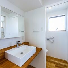 廊下/ねこ/カウンター/手洗い/洗面台/マイホーム/... 2階トイレ前の手洗いカウンター、下は猫ち…(3枚目)