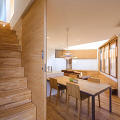 home/HOUSE/interior/注文住宅/家づくり/ダイニングテーブル/... 昨日のキッチン&ダイニングを階段側から♪…