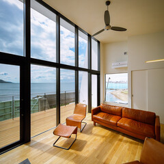 明石海峡大橋/海/ウッドデッキ/外観デザイン/外観/リビング/... 海に向かって大開口スチールサッシのあるリ…