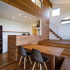 パントリー/ダイニング/インテリア/キッチン/設計/設計事務所/... ダイニング&キッチン&階段下のパン…