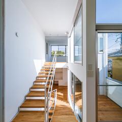 スキップフロア/スケルトン階段/階段/外観/キッチン/インテリア/... ダイニングキッチンとリビングを繋…