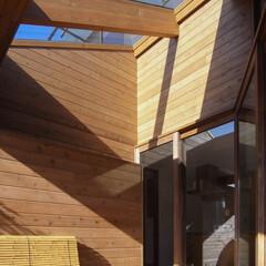 トップライト/ウッドデッキ/テラス/エクステリア/中庭/フォロー大歓迎/... ■haus-hat■ 大きなガラス屋根の…